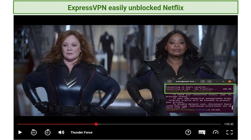 Screenshot of Netflix player streaming ThunderForce unblocked with ExpressVPN's Linux CLI