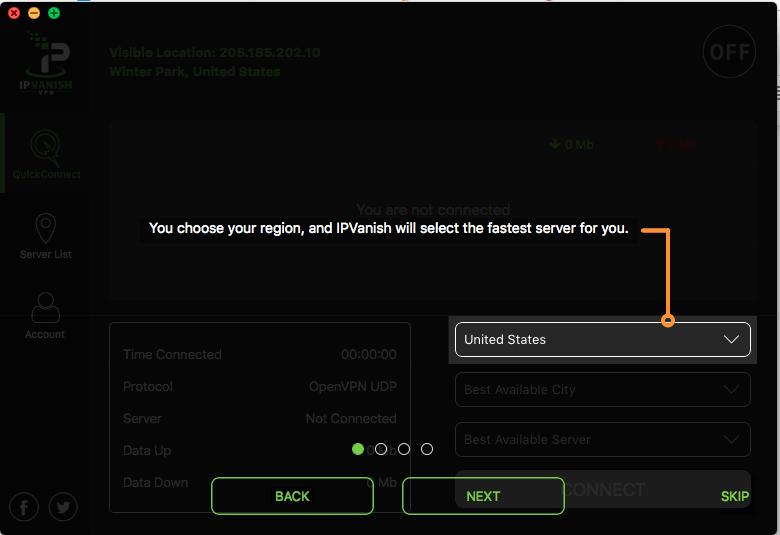 Screenshot of the IPVanish tutorial
