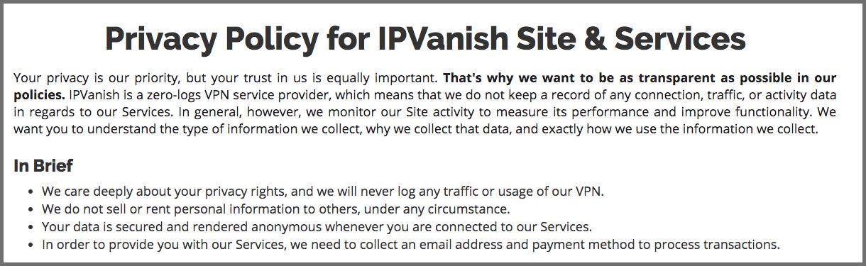Screenshot of the IPVanish privacy policy
