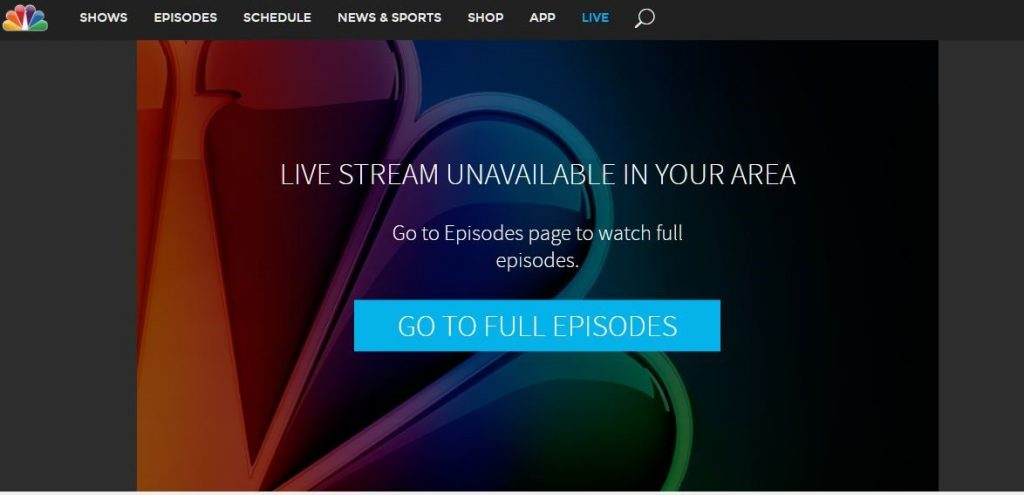 Screenshot of NBC's LIVE STREAM UNAVAILABLE pages