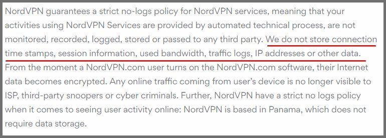 NordVPN gizlilik politikası