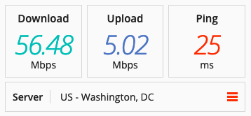 Speed test on a VyprVPN server in the US