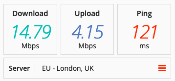 Speed test on a VyprVPN UK server