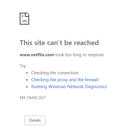 Web browser timeout message