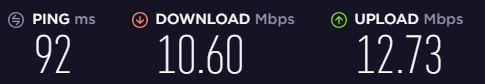 Speed test on an Avira Phantom VPN server in the UK.