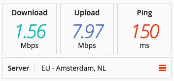 Speed test on a BTGuard VPN server in Europe.