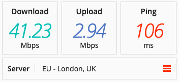 Speed test on a Buffered VPN server in the UK.