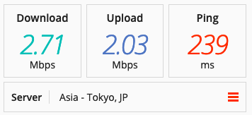 Speed test on a Buffered VPN server in Asia.