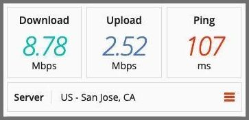 Speed test on an ibVPN server in the US