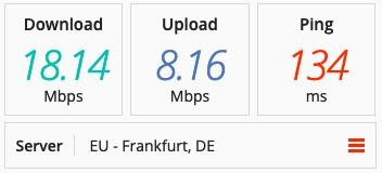 ProtonVPN speed test on a Denmark server