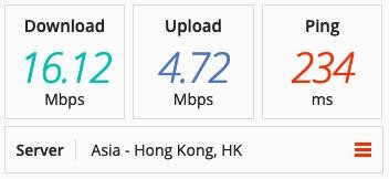 ProtonVPN speed test on an Asian server