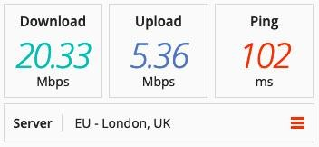Speed test on a TorGuard server in the UK