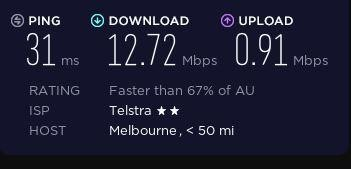 Speed before connecting to the VPN