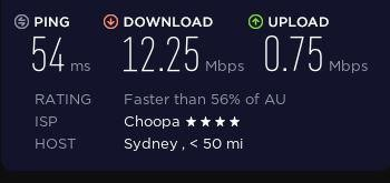 Speed test on a TunnelBear server in Australia