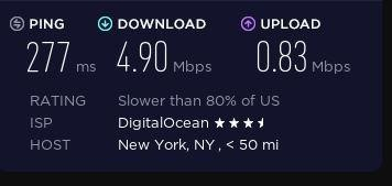 Speed test on a TunnelBear server in the US