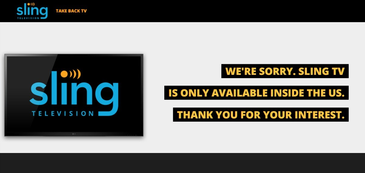 Sling TV georestriction message