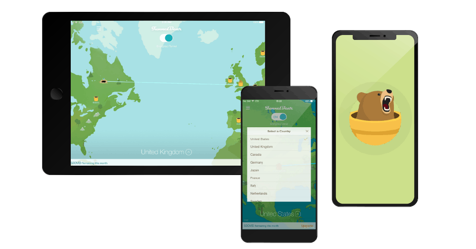 TunnelBear iOS devices