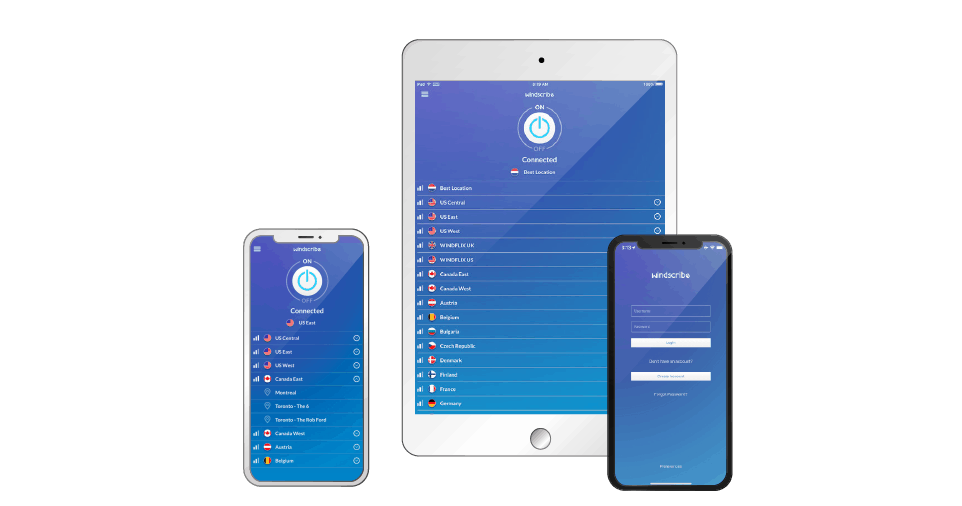 Windscribe iOS devices