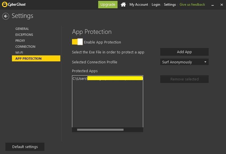 Screenshot of CyberGhost's main settings tab