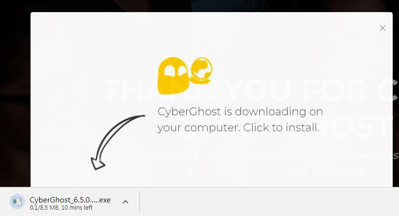 screenshot of CyberGhost's download page