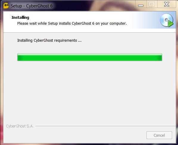 screenshot of CyberGhost's installation wizard