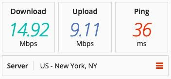 Screenshot of PIA's speed tests in New York