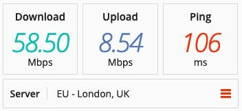 Screenshot of PIA's speed tests in the UK