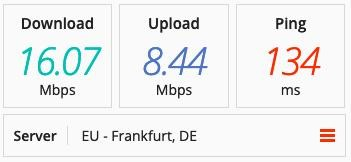 Screenshot of PIA's speed tests in Germany