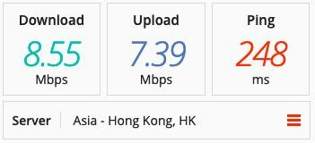 Screenshot of PIA's speeds in Hong Kong