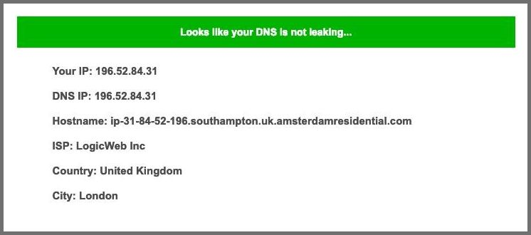 Screenshot of PIA's DNS leak test.