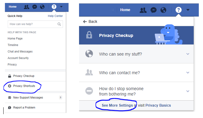 Getting to Facebook Privacy Page