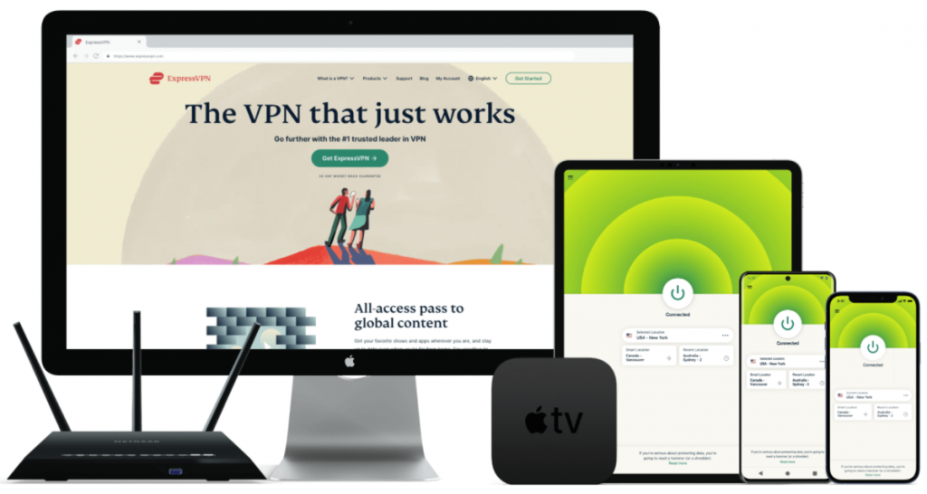 An assortment of devices that work with ExpressVPN