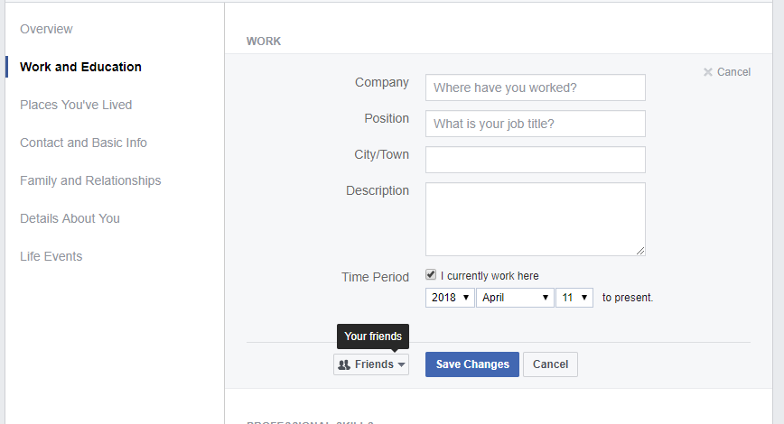 Edit Privacy on Facebook profile page