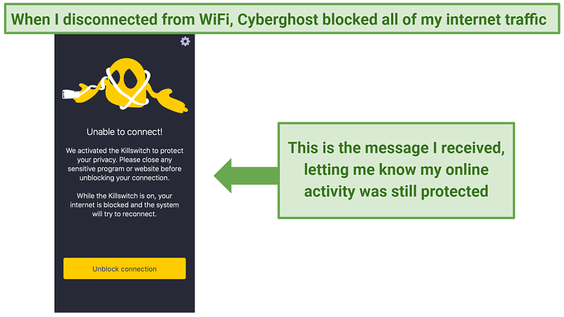A notification from the cyberghost app saying the kill switch is activated due to a lost connection