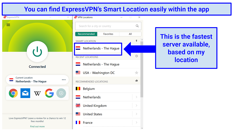 The ExpressVPN app with indication of where to find the Smart Location, for the fastest server available