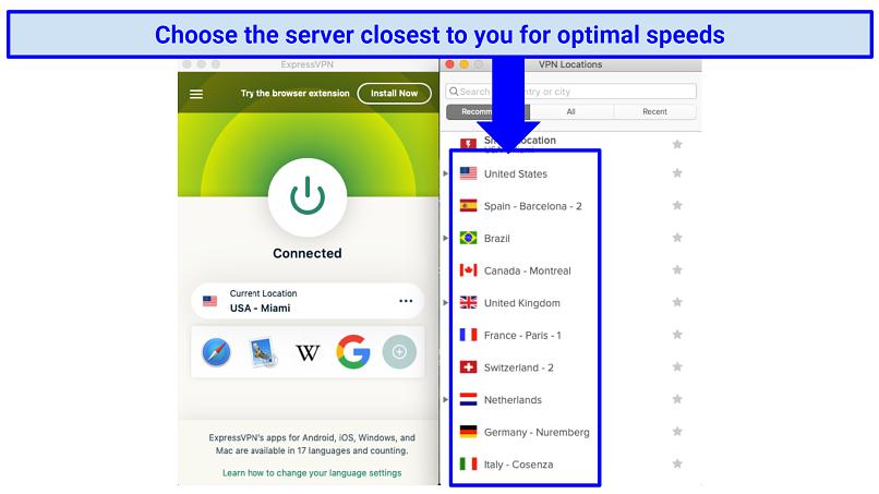 ExpressVPN's MacOS app, displaying server locations