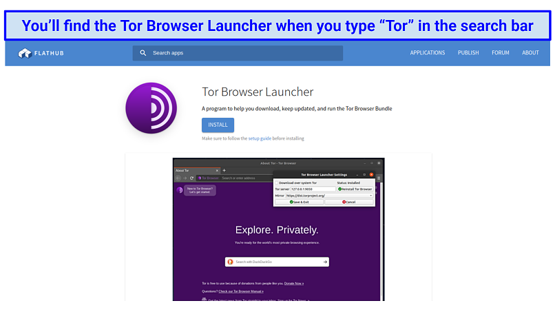 The Tor Browser Launcher page on Flathub, where Linux users can install Tor