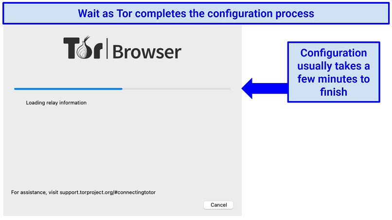 A progress bar showing Tor's configuration steps on a Mac OS device