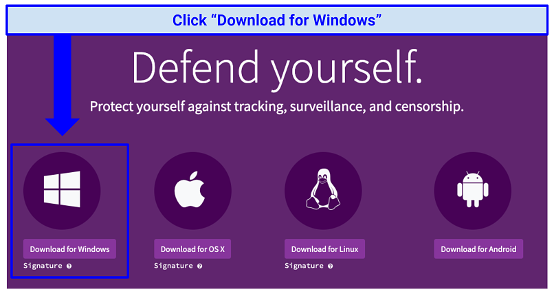 Screenshot of the Tor official website, where its software can be downloaded for various devices and browsers