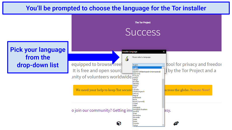 The Tor website prompting a selection of language for the installer tool, with a drop-down list to select from