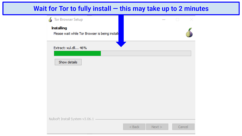 Screenshot of the Tor browser installing on Windows with a progress percentage bar