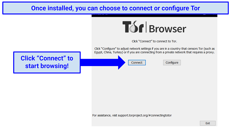 Screenshot of the Tor browser already installed, prompting the user to either connect or configure as the next step