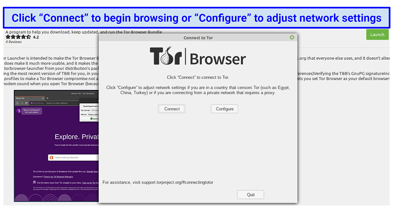 Tor on Linux, prompting the user to either connect to begin browsing or configure the app's network settings