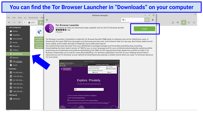 Screenshot showing how to locate the Tor Browser Launcher within Linux under