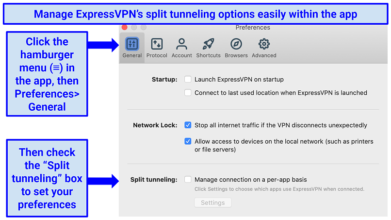 Directions of how to navigate to ExpressVPN's split tunneling feature in the app's