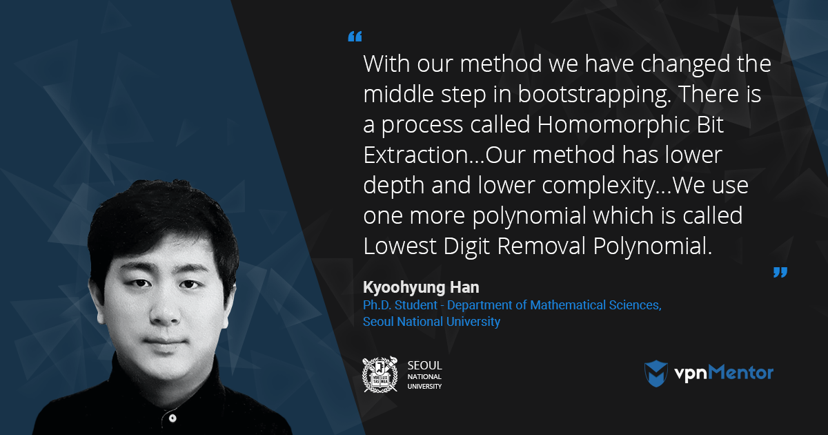 Interview with Kyoohyung Han at EuroCrypt 2018 on the topic of Bootstrapping and Homomorphic Encryption