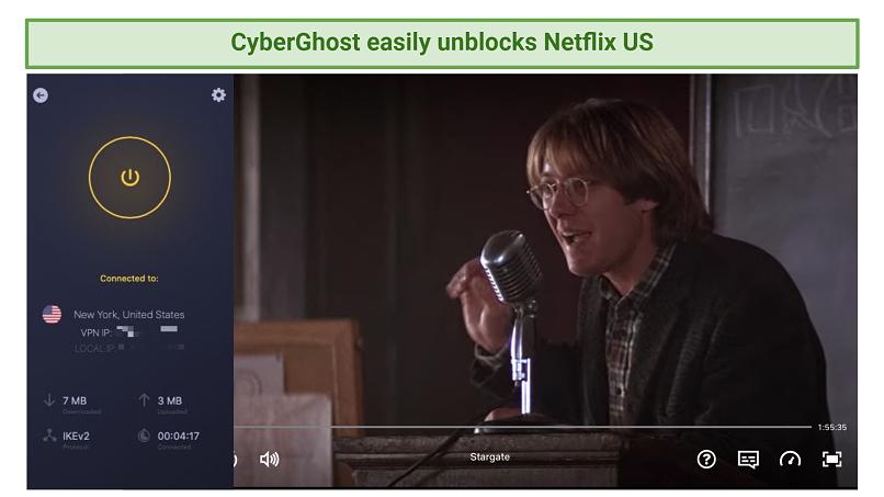 Screenshot of CyberGhost unblocking Netflix US