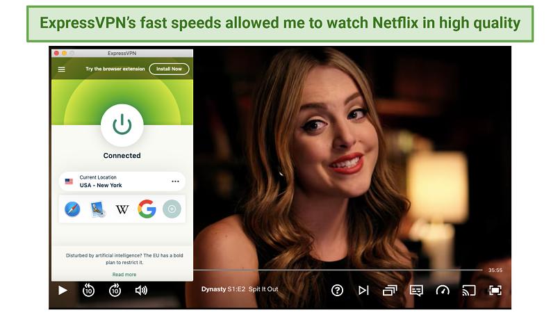Screenshot of ExpressVPN unblocking Netflix US