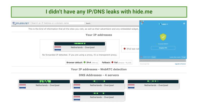 Screenshot of leak test with hideme