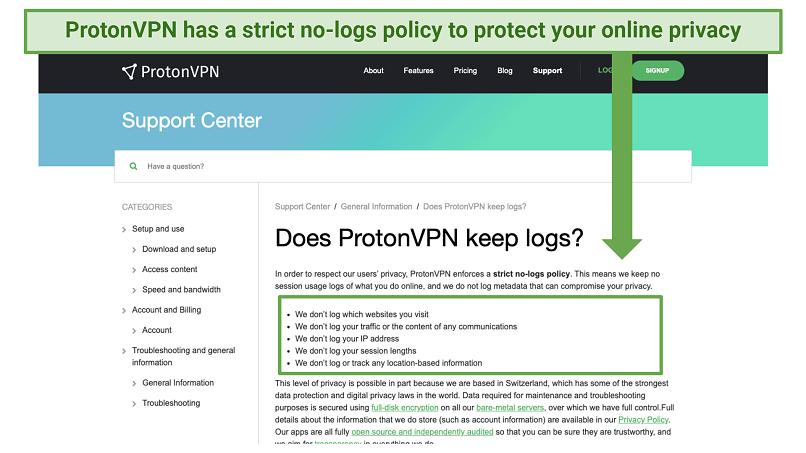 Screenshot of ProtonVPN's logging policy